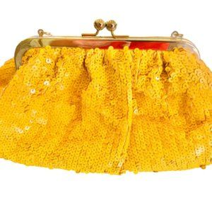 Kate Landry Yellow Sequin Clutch with Strap